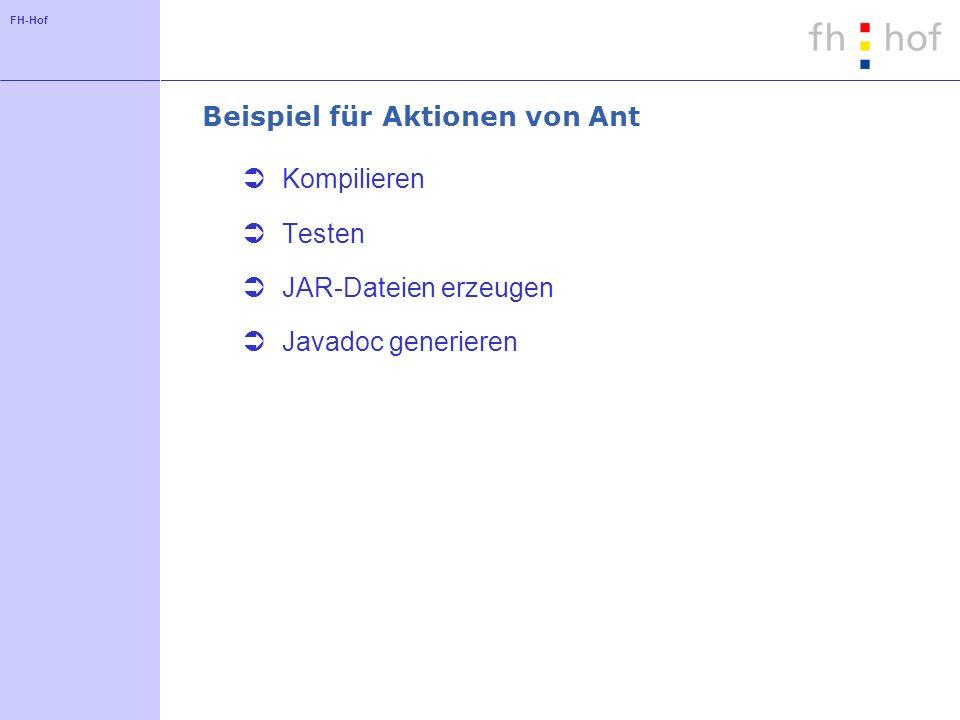FH-Hof Beispiel für Aktionen von Ant Kompilieren Testen JAR-Dateien erzeugen Javadoc generieren