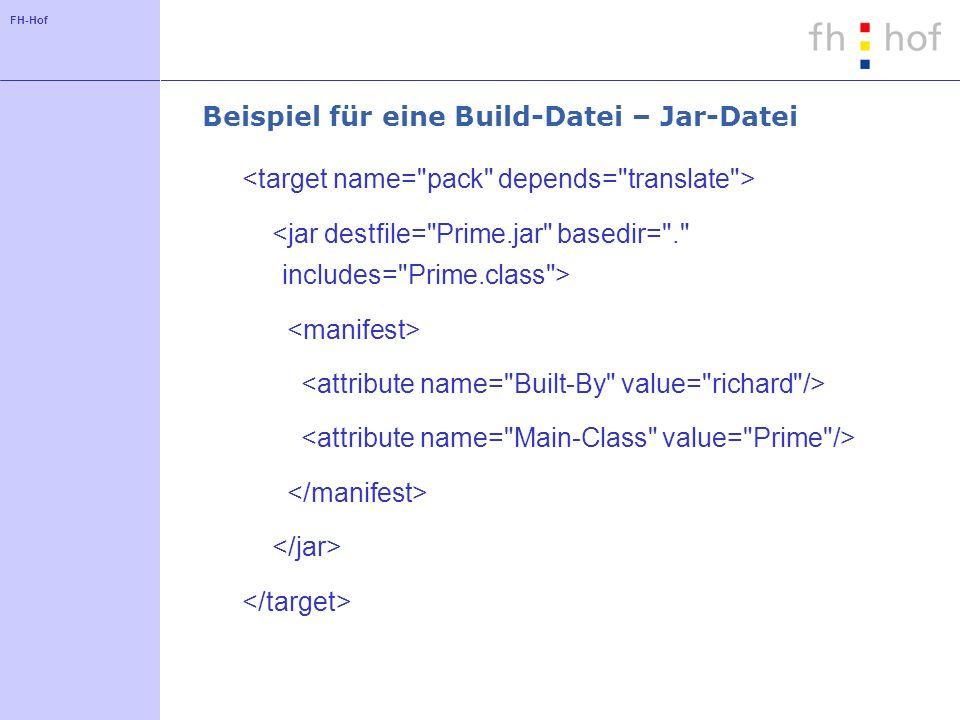 FH-Hof Beispiel für eine Build-Datei – Jar-Datei