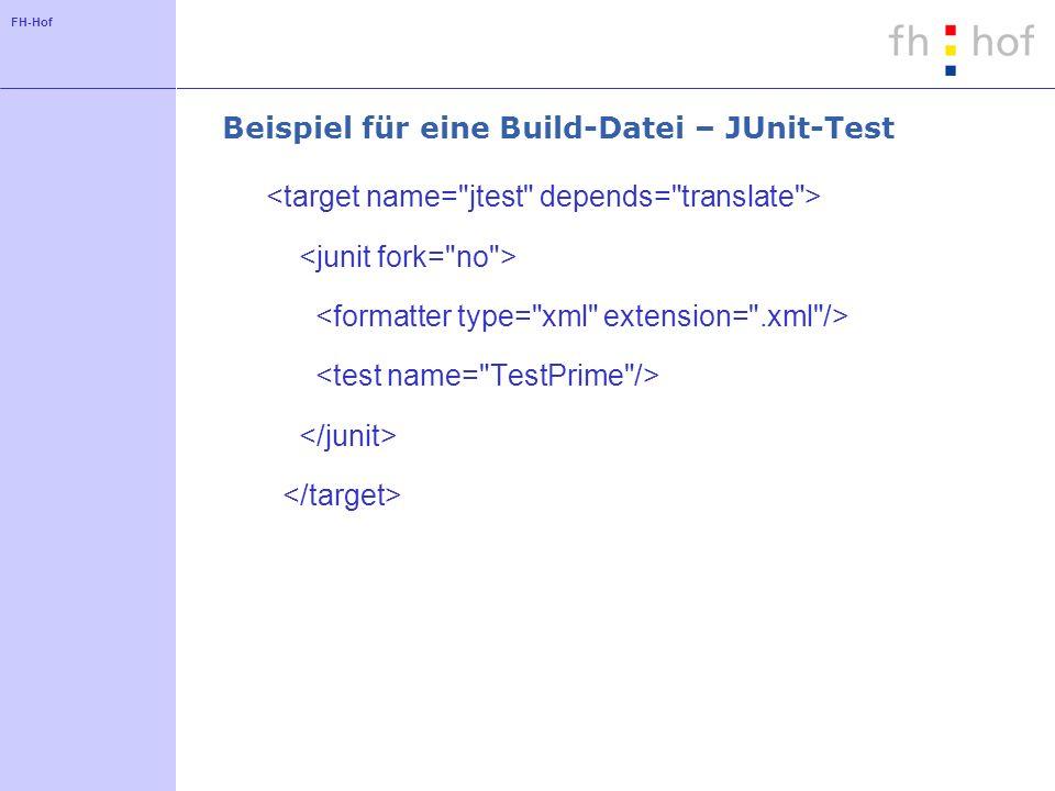 FH-Hof Beispiel für eine Build-Datei – JUnit-Test