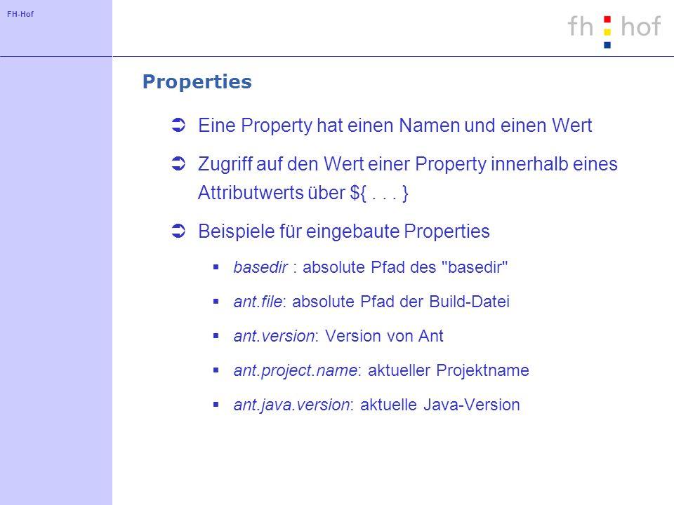 FH-Hof Properties Eine Property hat einen Namen und einen Wert Zugriff auf den Wert einer Property innerhalb eines Attributwerts über ${...