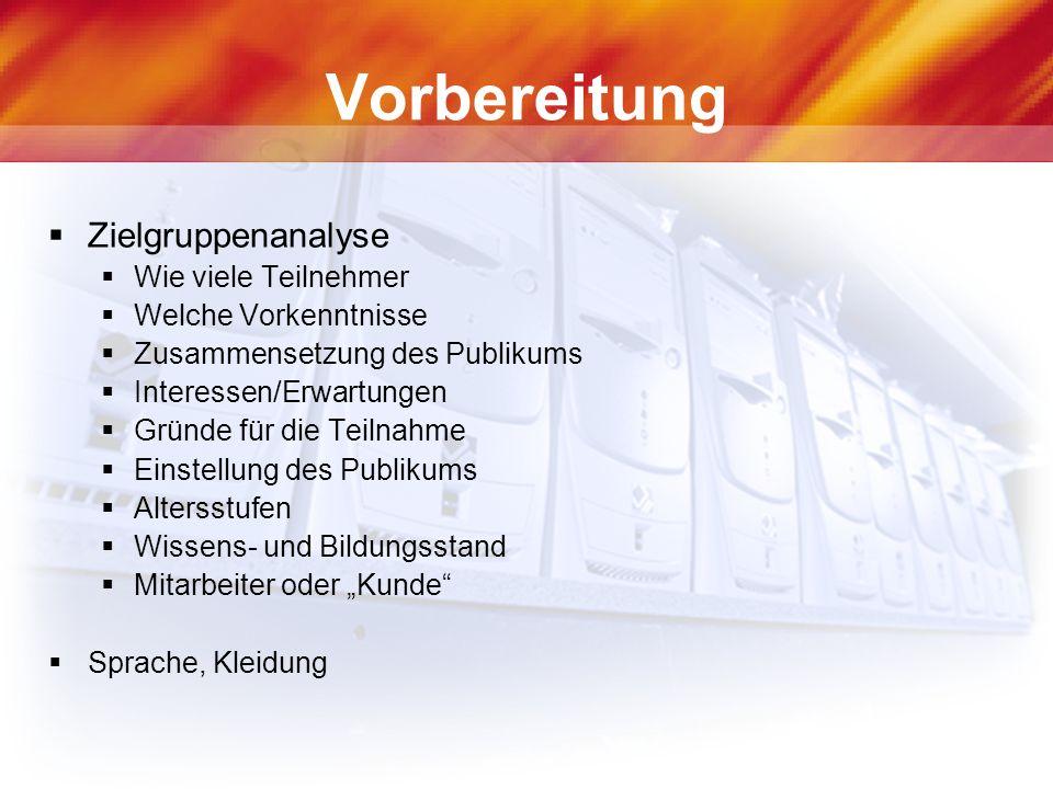 Informationsquellen Handbuch Rhetorik, Falken ISBN: 3-8068-7357-7 Gekonnt reden, Markt + Technik ISBN: 3-8272-5917-7 Moderne Didaktik für EDV-Schulungen, Beltz, ISBN: 3-407-36348-6