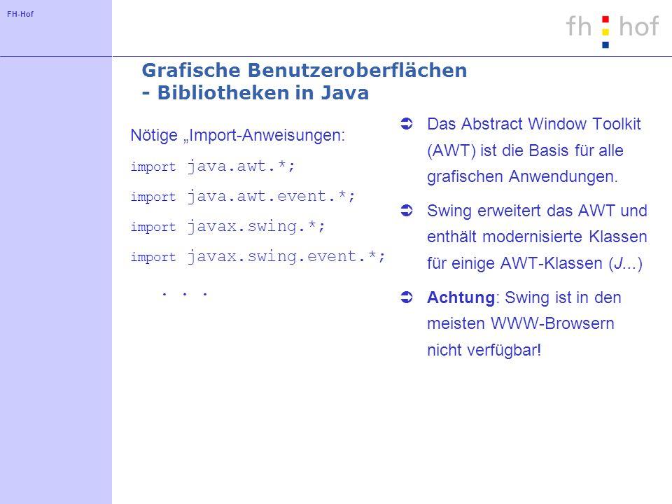 FH-Hof Grafische Benutzeroberflächen - Bibliotheken in Java Nötige Import-Anweisungen: import java.awt.*; import java.awt.event.*; import javax.swing.*; import javax.swing.event.*;...