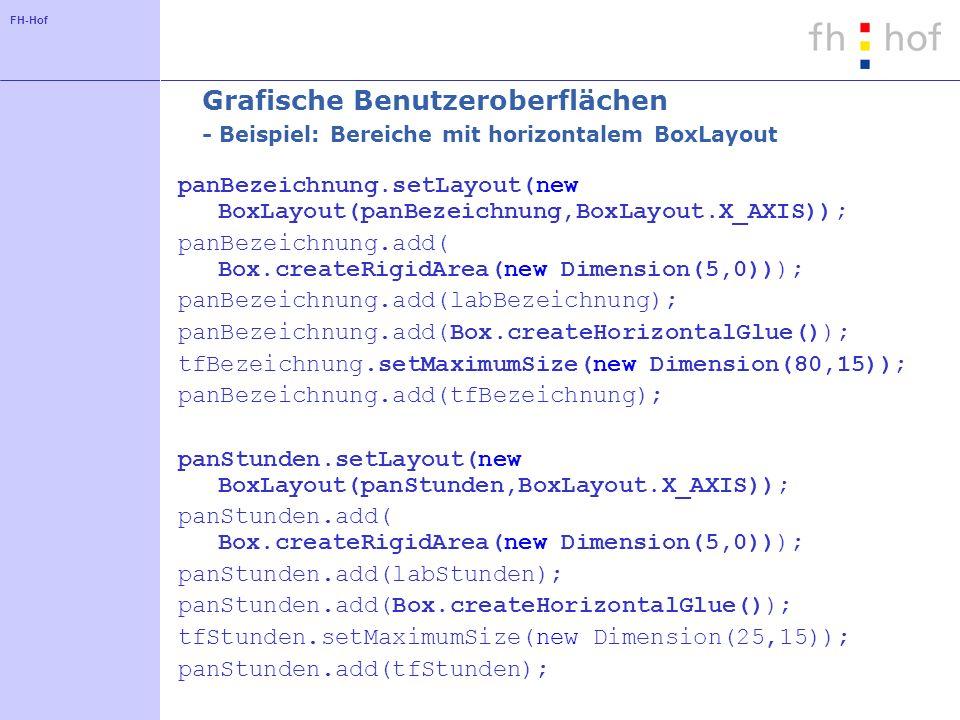 FH-Hof Grafische Benutzeroberflächen - Beispiel: Bereiche mit horizontalem BoxLayout panBezeichnung.setLayout(new BoxLayout(panBezeichnung,BoxLayout.X_AXIS)); panBezeichnung.add( Box.createRigidArea(new Dimension(5,0))); panBezeichnung.add(labBezeichnung); panBezeichnung.add(Box.createHorizontalGlue()); tfBezeichnung.setMaximumSize(new Dimension(80,15)); panBezeichnung.add(tfBezeichnung); panStunden.setLayout(new BoxLayout(panStunden,BoxLayout.X_AXIS)); panStunden.add( Box.createRigidArea(new Dimension(5,0))); panStunden.add(labStunden); panStunden.add(Box.createHorizontalGlue()); tfStunden.setMaximumSize(new Dimension(25,15)); panStunden.add(tfStunden);