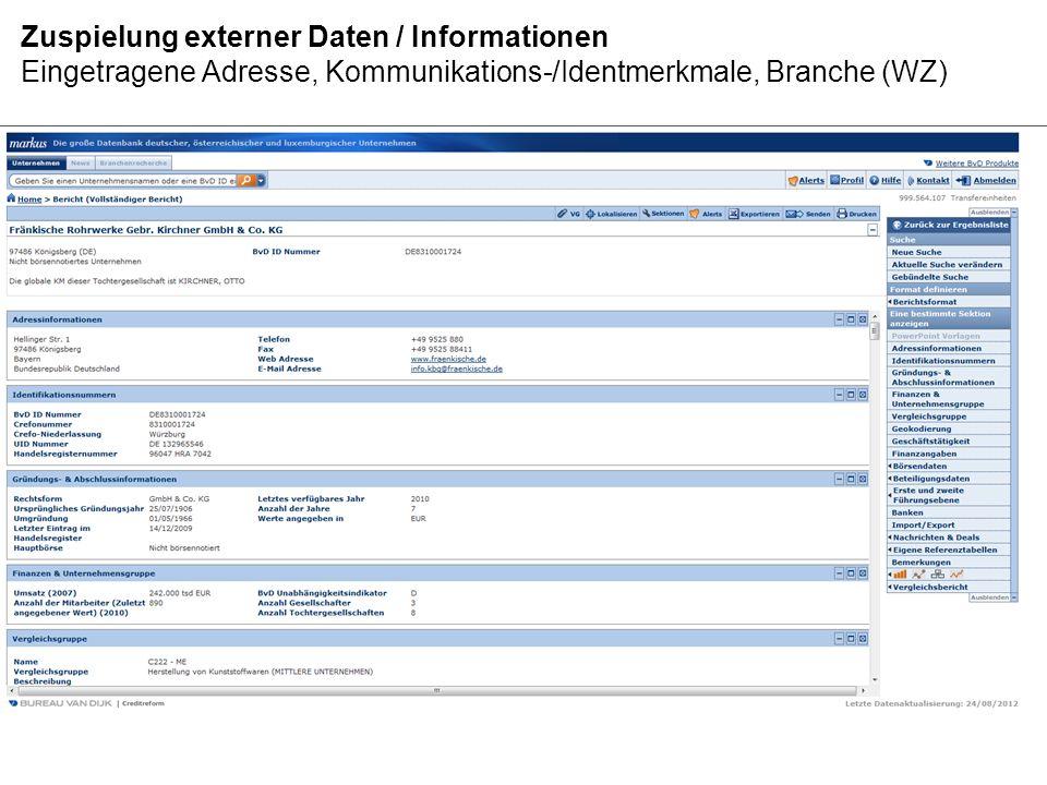 Zuspielung externer Daten / Informationen Geschäftstätigkeit, Entwicklung Umsatz/Mitarbeiter, Gesellschafterdaten
