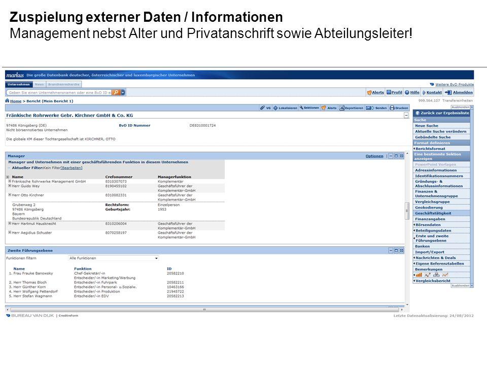 Zuspielung externer Daten / Informationen Definition und Darstellung der internationalen Konzerngruppe