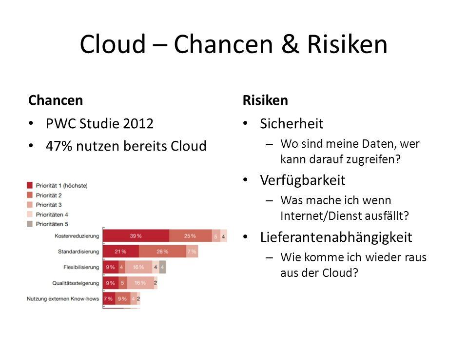 Cloud – Chancen & Risiken Chancen PWC Studie 2012 47% nutzen bereits Cloud Risiken Sicherheit – Wo sind meine Daten, wer kann darauf zugreifen? Verfüg