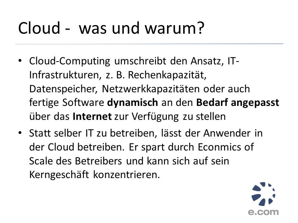 Cloud - was und warum? Cloud-Computing umschreibt den Ansatz, IT- Infrastrukturen, z. B. Rechenkapazität, Datenspeicher, Netzwerkkapazitäten oder auch