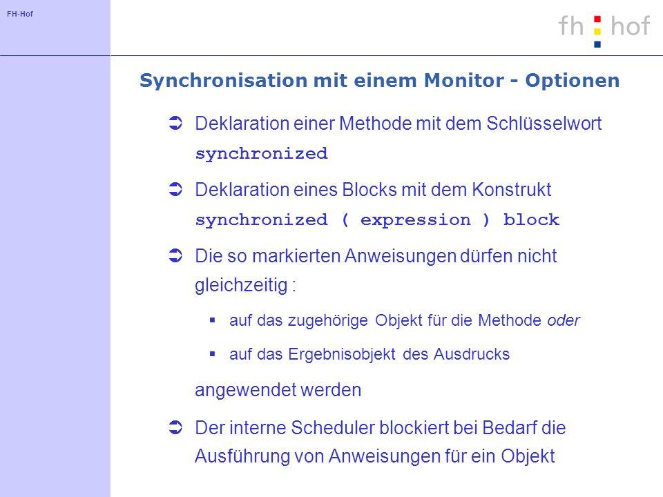 FH-Hof Synchronisation mit einem Monitor - Optionen Deklaration einer Methode mit dem Schlüsselwort synchronized Deklaration eines Blocks mit dem Kons