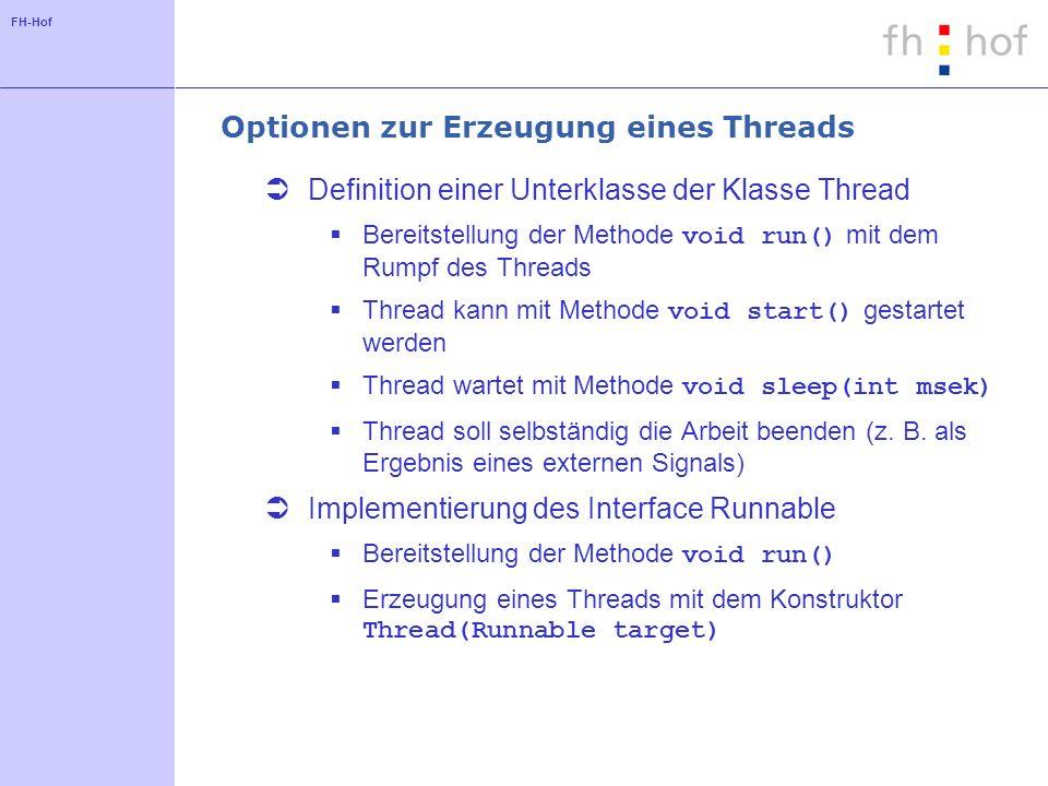 FH-Hof Optionen zur Erzeugung eines Threads Definition einer Unterklasse der Klasse Thread Bereitstellung der Methode void run() mit dem Rumpf des Thr