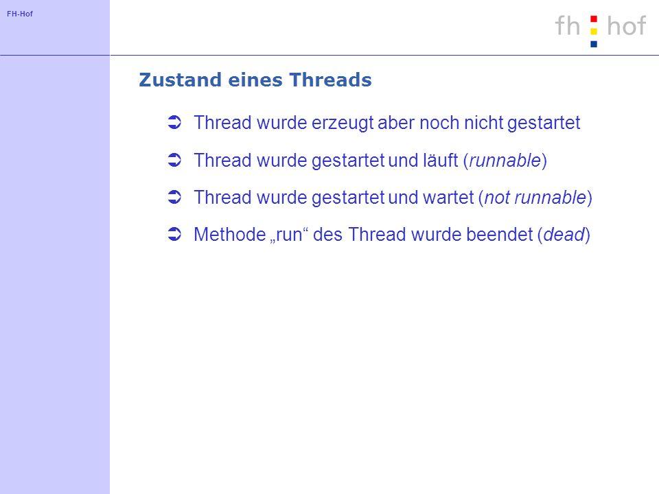 FH-Hof Zustand eines Threads Thread wurde erzeugt aber noch nicht gestartet Thread wurde gestartet und läuft (runnable) Thread wurde gestartet und war