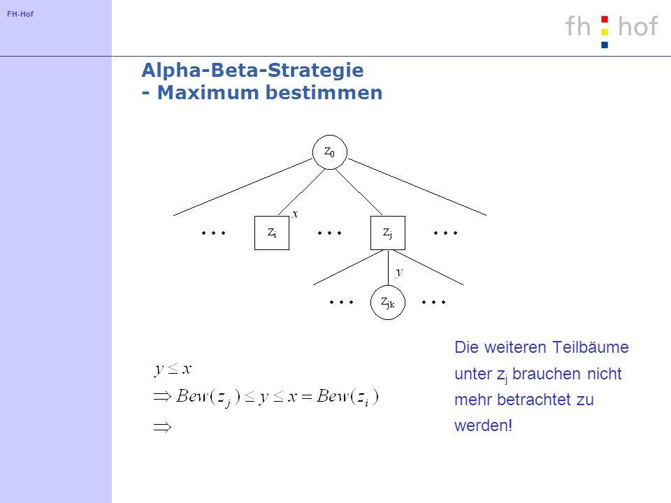 FH-Hof Alpha-Beta-Strategie - Maximum bestimmen Die weiteren Teilbäume unter z j brauchen nicht mehr betrachtet zu werden!