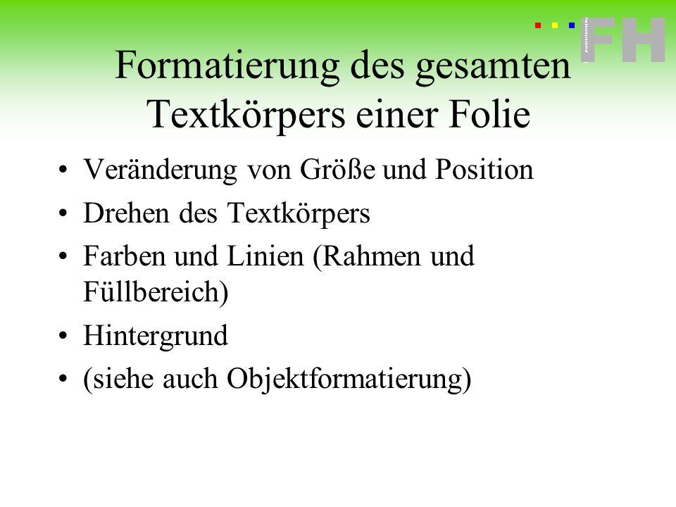 Fachhochschule Hof FH Fachhochschule Hof Formatierung des gesamten Textkörpers einer Folie Veränderung von Größe und Position Drehen des Textkörpers F