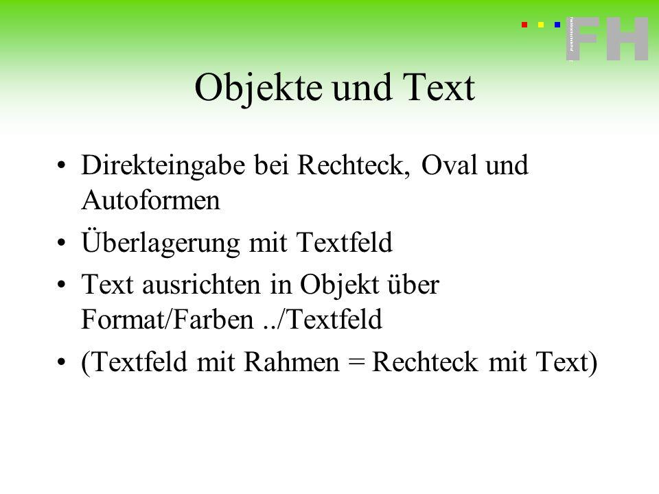 Fachhochschule Hof FH Fachhochschule Hof Objekte und Text Direkteingabe bei Rechteck, Oval und Autoformen Überlagerung mit Textfeld Text ausrichten in