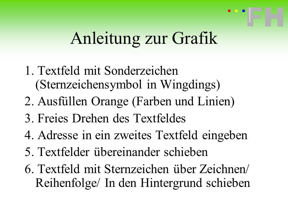 Fachhochschule Hof FH Fachhochschule Hof Anleitung zur Grafik 1. Textfeld mit Sonderzeichen (Sternzeichensymbol in Wingdings) 2. Ausfüllen Orange (Far