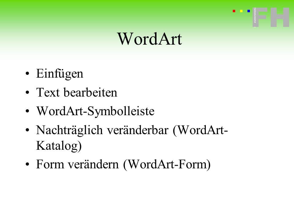 Fachhochschule Hof FH Fachhochschule Hof WordArt Einfügen Text bearbeiten WordArt-Symbolleiste Nachträglich veränderbar (WordArt- Katalog) Form veränd