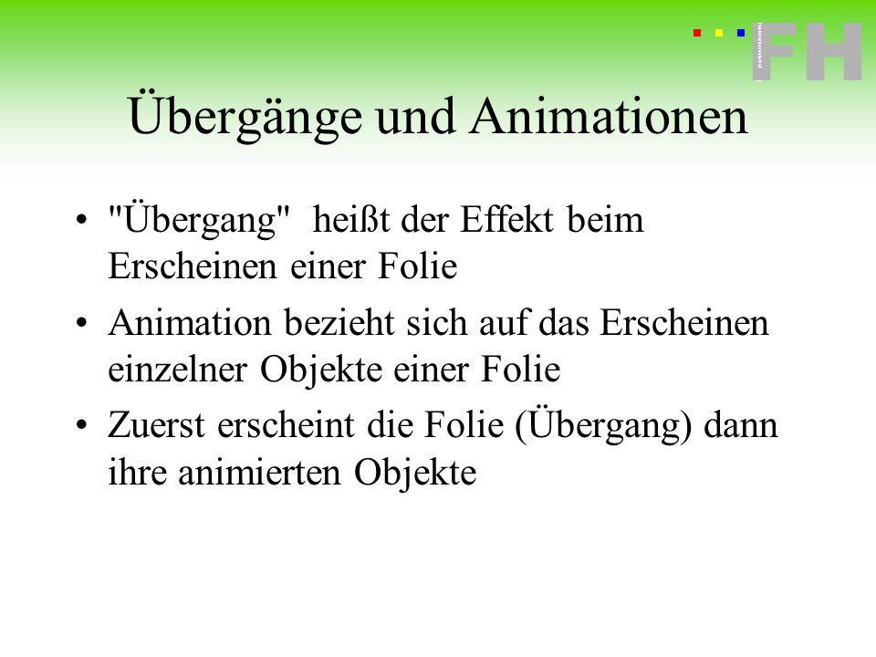 Fachhochschule Hof FH Fachhochschule Hof Übergänge und Animationen