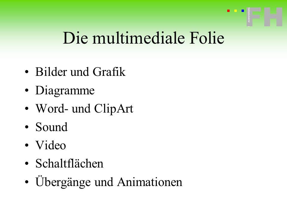 Fachhochschule Hof FH Fachhochschule Hof Die multimediale Folie Bilder und Grafik Diagramme Word- und ClipArt Sound Video Schaltflächen Übergänge und