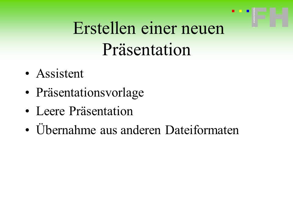 Fachhochschule Hof FH Fachhochschule Hof Erstellen einer neuen Präsentation Assistent Präsentationsvorlage Leere Präsentation Übernahme aus anderen Da
