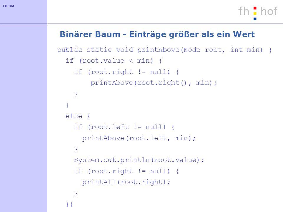 FH-Hof Binärer Baum - Einträge größer als ein Wert public static void printAbove(Node root, int min) { if (root.value < min) { if (root.right != null)