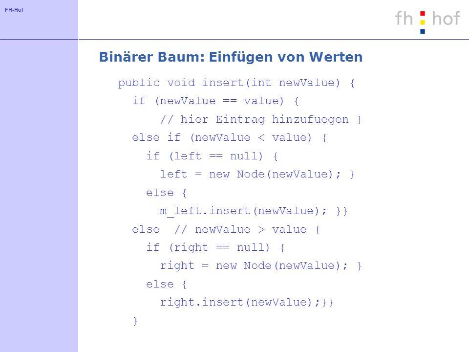 FH-Hof Binärer Baum: Einfügen von Werten public void insert(int newValue) { if (newValue == value) { // hier Eintrag hinzufuegen } else if (newValue <