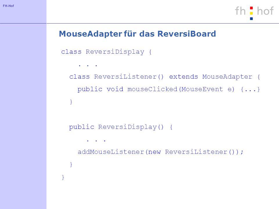 FH-Hof MouseAdapter für das ReversiBoard class ReversiDisplay {... class ReversiListener() extends MouseAdapter { public void mouseClicked(MouseEvent