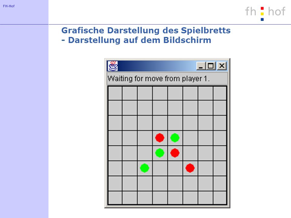 FH-Hof Grafische Darstellung des Spielbretts - Ansatz Definition einer eigenen Komponente als Unterklasse von JComponent Verwendung der Methode paint zum Malen des Spielbretts Attribute enthalten die darzustellende Information (hier ReversiBoard)