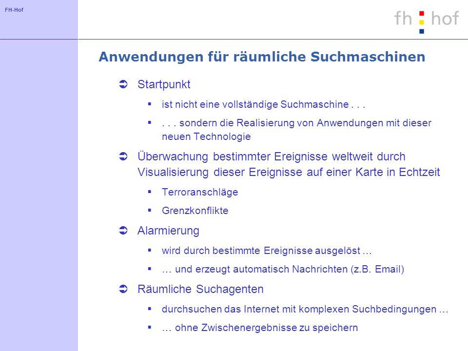 FH-Hof Anwendungen für räumliche Suchmaschinen Startpunkt ist nicht eine vollständige Suchmaschine......