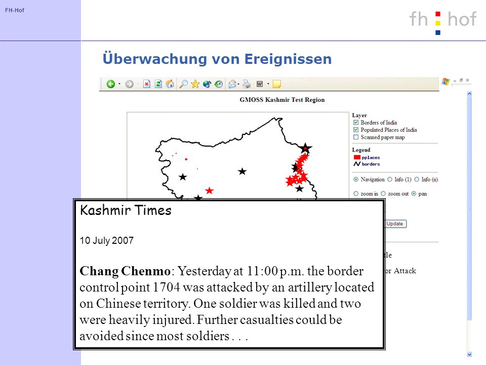 FH-Hof Überwachung von Ereignissen Battle Terror Attack Kashmir Times 10 July 2007 Chang Chenmo: Yesterday at 11:00 p.m.
