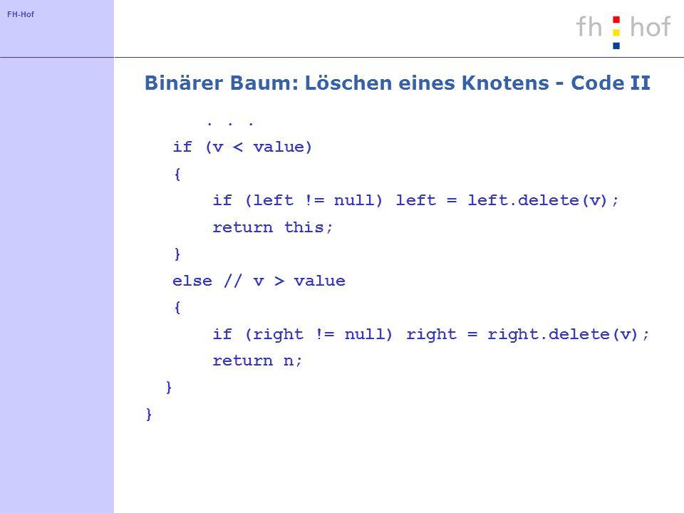 FH-Hof Binärer Baum: Löschen eines Knotens - Code II...
