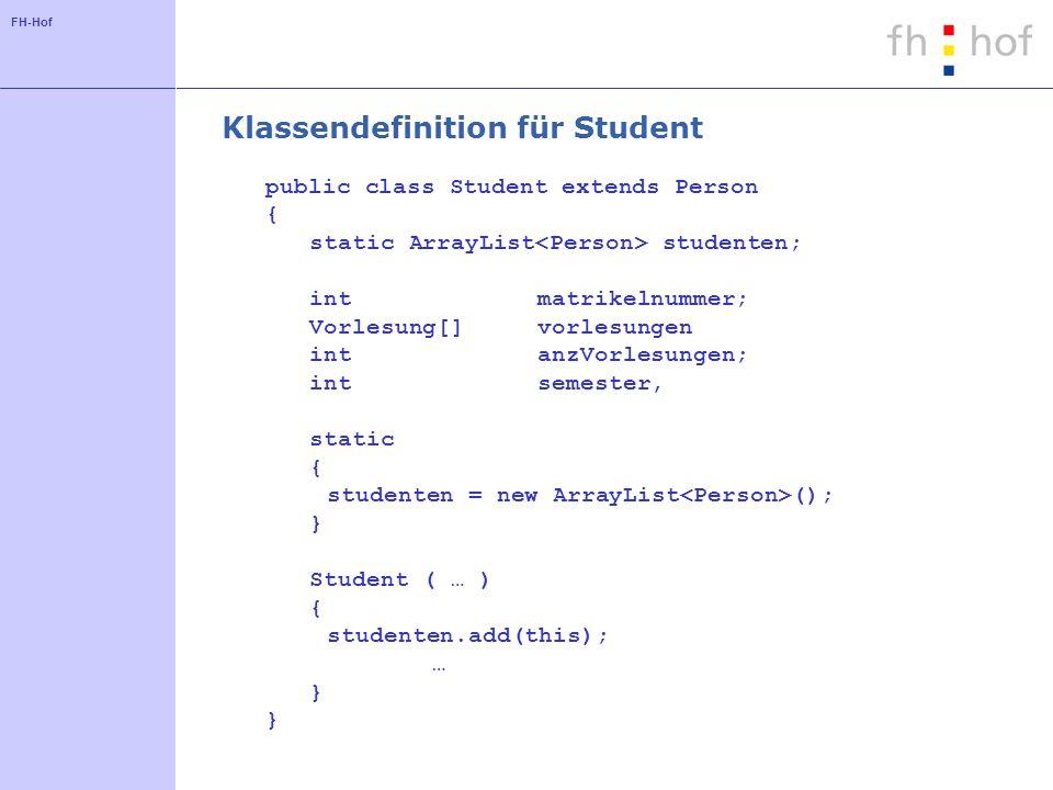 FH-Hof Klassendefinition für Student public class Student extends Person { static ArrayList studenten; intmatrikelnummer; Vorlesung[]vorlesungen intanzVorlesungen; intsemester, static { studenten = new ArrayList (); } Student ( … ) { studenten.add(this); … }