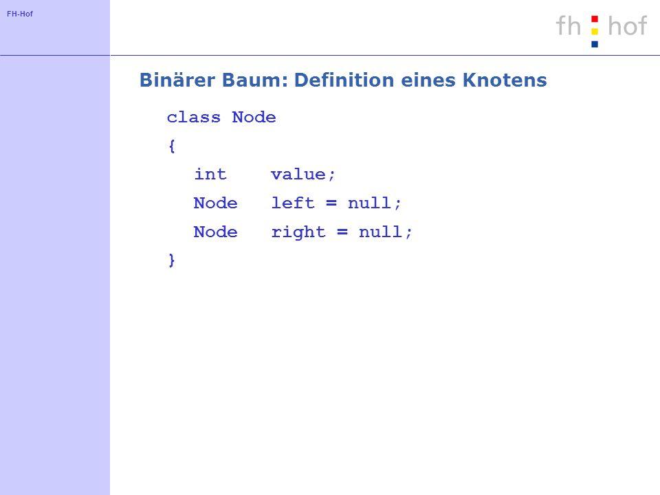 FH-Hof Binärer Baum: Suche nach Werten Node search(int v) { if (v == value) return this; if (v < value) if (left == null) return null; else return left.search(v); else // v >= value if (right == null) return null; else return right.search(v); }