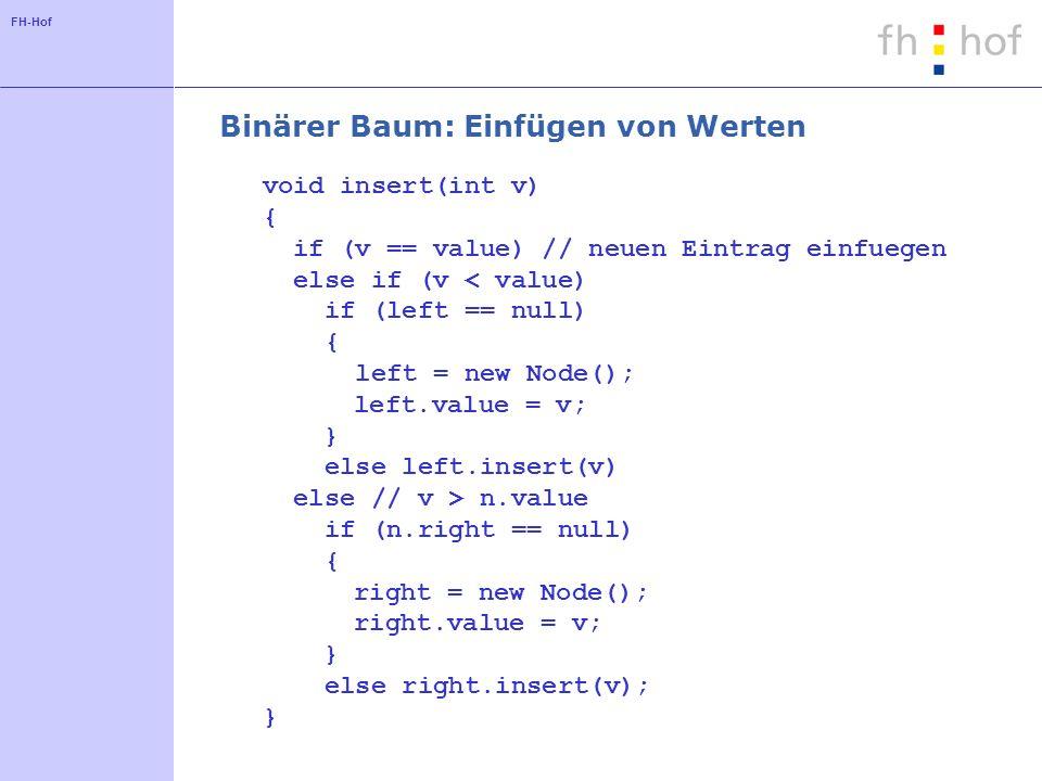 FH-Hof Lösung: (fast) balancierte Bäume Höhendifferenz des linken und rechten Teilbaums für jeden Knoten ist maximal k (k in der Regel 1) Beispiele: Rot-Schwarz-Baum AVL-Baum (G.