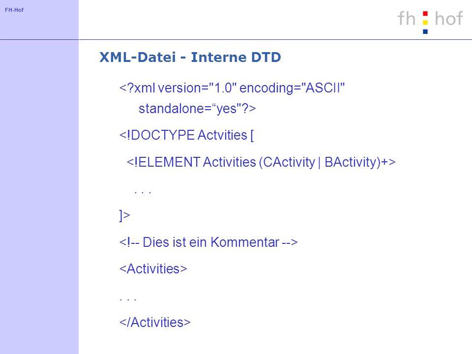 FH-Hof XML-Datei - Interne DTD <!DOCTYPE Actvities [... ]>...