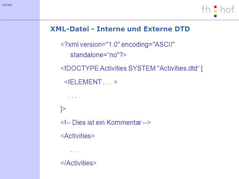 FH-Hof XML-Datei - Interne und Externe DTD <!DOCTYPE Activities SYSTEM Activities.dtd [... ]>...