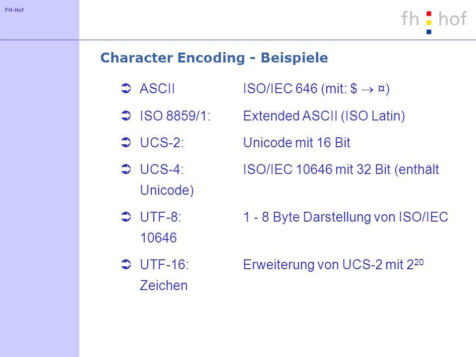 FH-Hof Character Encoding - Beispiele ASCIIISO/IEC 646 (mit: $ ¤) ISO 8859/1: Extended ASCII (ISO Latin) UCS-2: Unicode mit 16 Bit UCS-4: ISO/IEC 10646 mit 32 Bit (enthält Unicode) UTF-8: 1 - 8 Byte Darstellung von ISO/IEC 10646 UTF-16: Erweiterung von UCS-2 mit 2 20 Zeichen