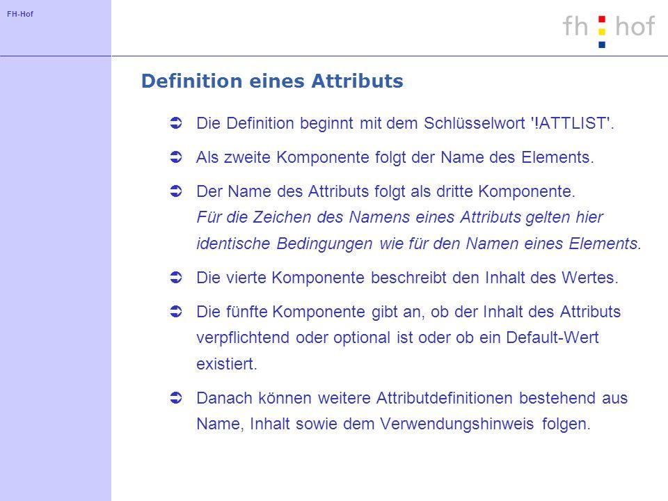 FH-Hof Definition eines Attributs Die Definition beginnt mit dem Schlüsselwort !ATTLIST .