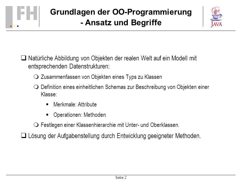 Seite 2 Grundlagen der OO-Programmierung - Ansatz und Begriffe Natürliche Abbildung von Objekten der realen Welt auf ein Modell mit entsprechenden Dat