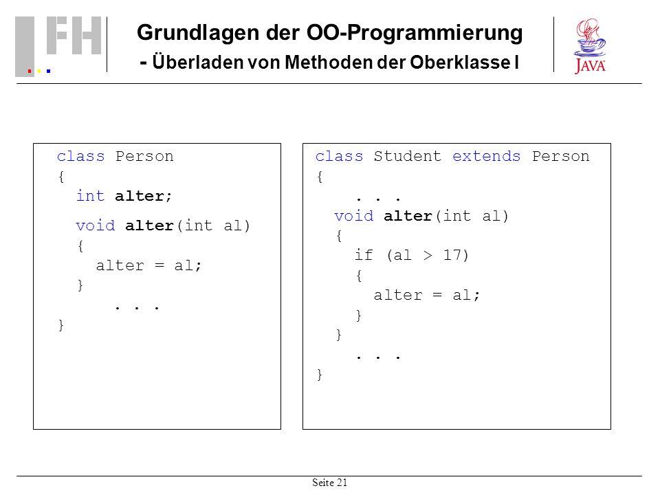 Seite 21 Grundlagen der OO-Programmierung - Überladen von Methoden der Oberklasse I class Person { int alter; void alter(int al) { alter = al; }... }