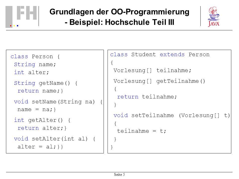 Seite 5 Grundlagen der OO-Programmierung - Beispiel: Hochschule Teil III class Person { String name; int alter; String getName() { return name;} void