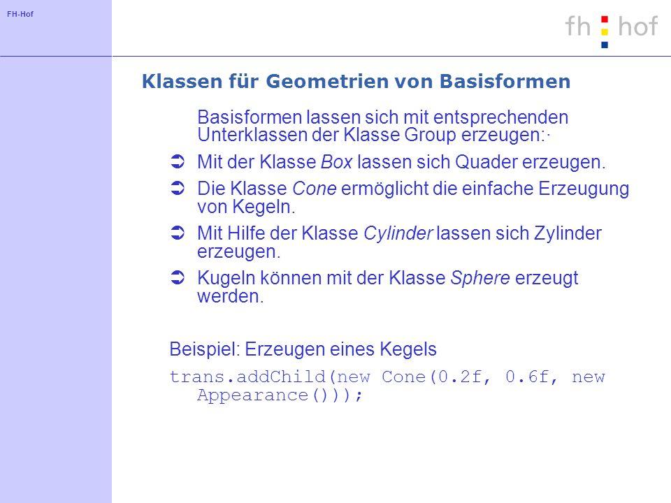FH-Hof Klassen für Geometrien von Basisformen Basisformen lassen sich mit entsprechenden Unterklassen der Klasse Group erzeugen:· Mit der Klasse Box lassen sich Quader erzeugen.
