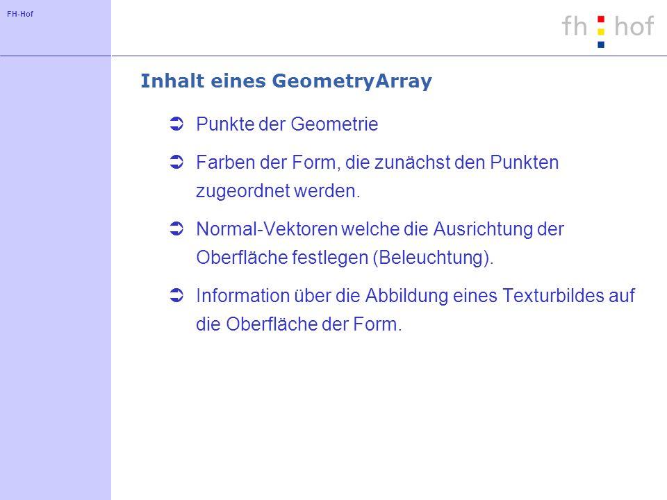 FH-Hof Inhalt eines GeometryArray Punkte der Geometrie Farben der Form, die zunächst den Punkten zugeordnet werden.