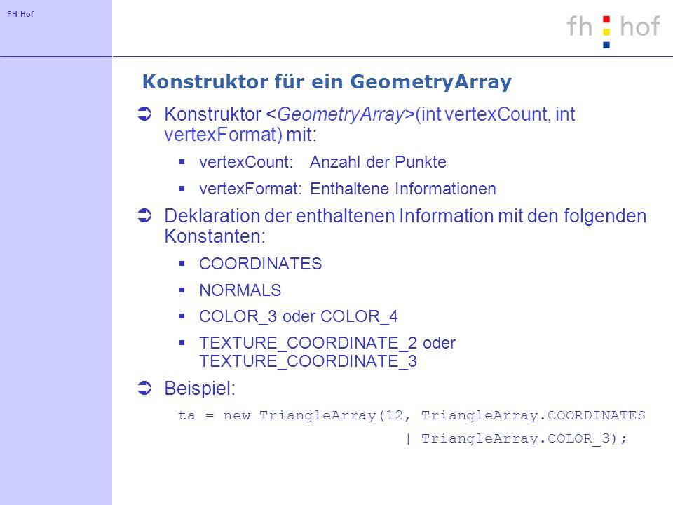 FH-Hof Methoden für ein GeometryArray setCoordinate(int index, PointXX coordinate) setCoordinates(int index, PointXX[] coordinates) setColor(int index, ColorXX color) setColors(int index, ColorXX[] colors) setNormal(int index, VectorXX normal) setNormals(int index, VectorXX[] normals)