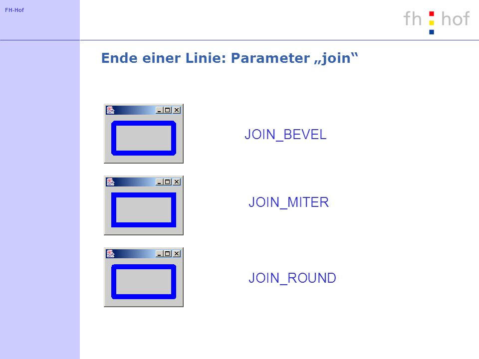 FH-Hof Ende einer Linie: Parameter join JOIN_BEVEL JOIN_MITER JOIN_ROUND