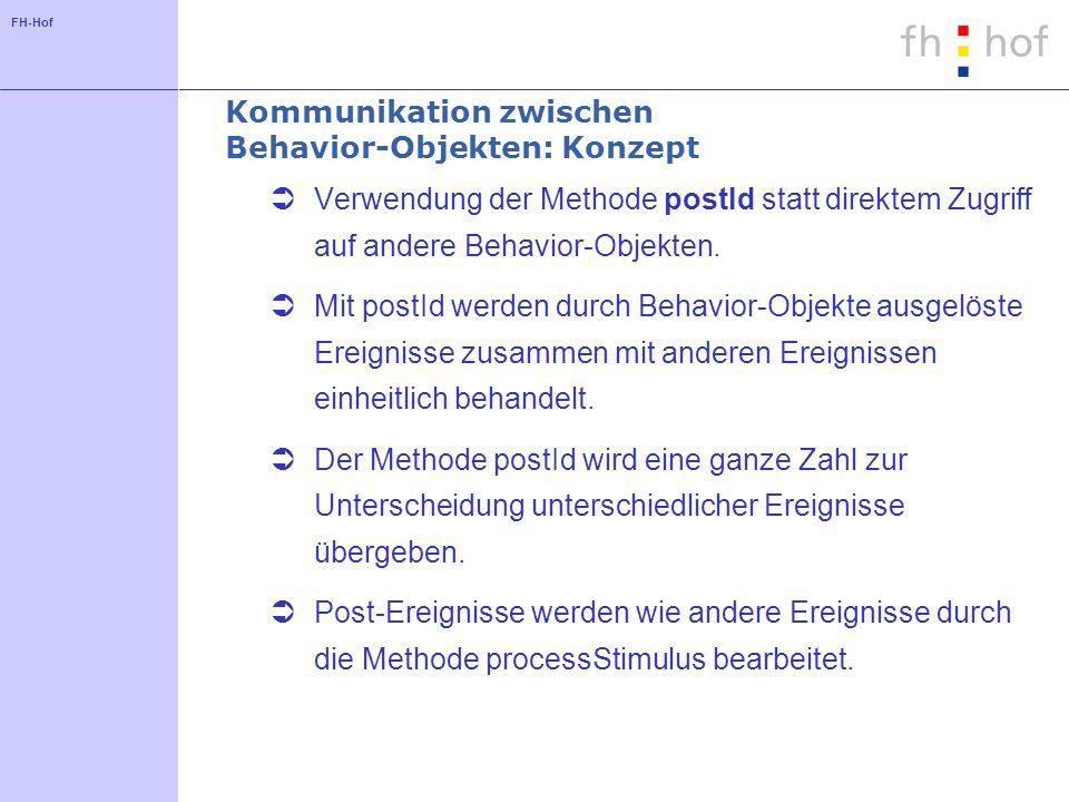 FH-Hof Kommunikation zwischen Behavior-Objekten: Konzept Verwendung der Methode postId statt direktem Zugriff auf andere Behavior-Objekten.