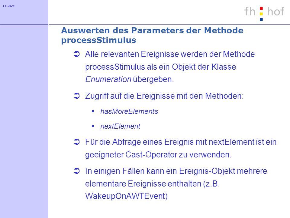 FH-Hof Auswerten des Parameters der Methode processStimulus Alle relevanten Ereignisse werden der Methode processStimulus als ein Objekt der Klasse Enumeration übergeben.