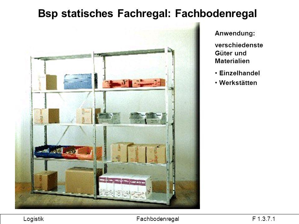 Bsp statisches Fachregal: Fachbodenregal Logistik Fachbodenregal F 1.3.7.1 Anwendung: verschiedenste Güter und Materialien Einzelhandel Werkstätten