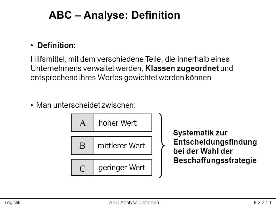 ABC – Analyse: Definition Definition: Hilfsmittel, mit dem verschiedene Teile, die innerhalb eines Unternehmens verwaltet werden, Klassen zugeordnet und entsprechend ihres Wertes gewichtet werden können.