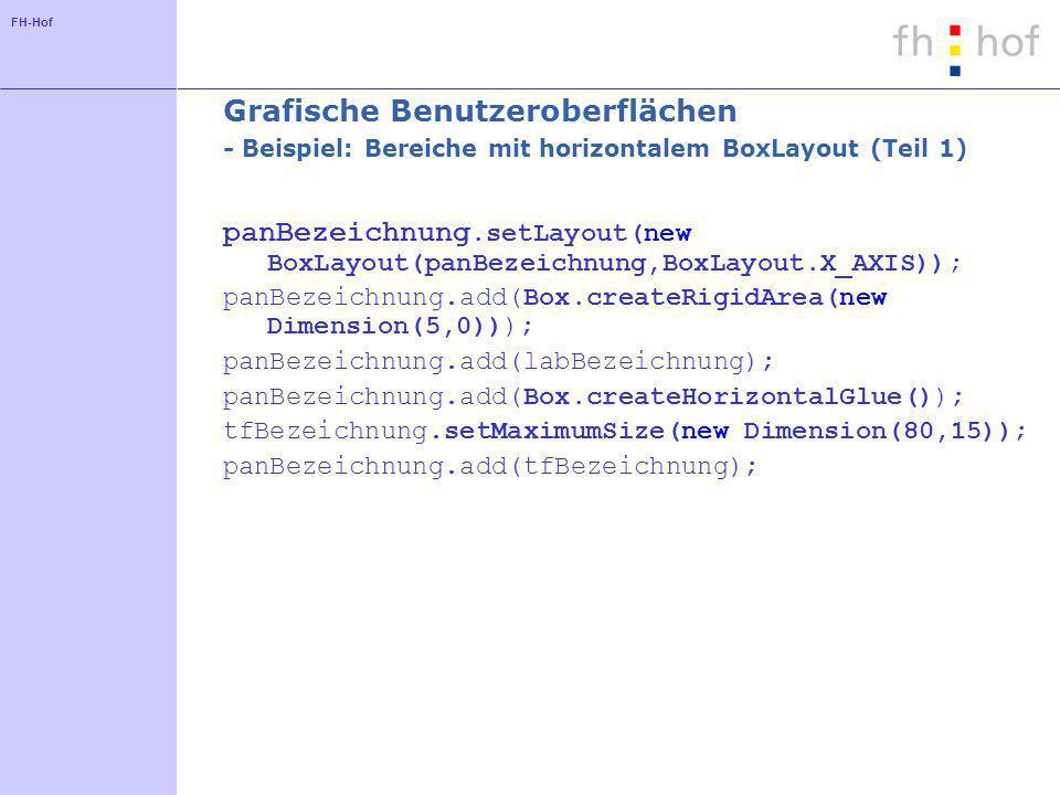 FH-Hof Grafische Benutzeroberflächen - Beispiel: Bereiche mit horizontalem BoxLayout (Teil 1) panBezeichnung.setLayout(new BoxLayout(panBezeichnung,BoxLayout.X_AXIS)); panBezeichnung.add(Box.createRigidArea(new Dimension(5,0))); panBezeichnung.add(labBezeichnung); panBezeichnung.add(Box.createHorizontalGlue()); tfBezeichnung.setMaximumSize(new Dimension(80,15)); panBezeichnung.add(tfBezeichnung);
