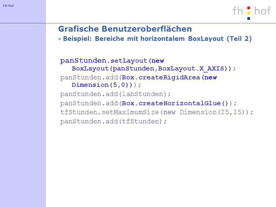 FH-Hof Grafische Benutzeroberflächen - Beispiel: Bereiche mit horizontalem BoxLayout (Teil 2) panStunden.setLayout(new BoxLayout(panStunden,BoxLayout.X_AXIS)); panStunden.add(Box.createRigidArea(new Dimension(5,0))); panStunden.add(labStunden); panStunden.add(Box.createHorizontalGlue()); tfStunden.setMaximumSize(new Dimension(25,15)); panStunden.add(tfStunden);