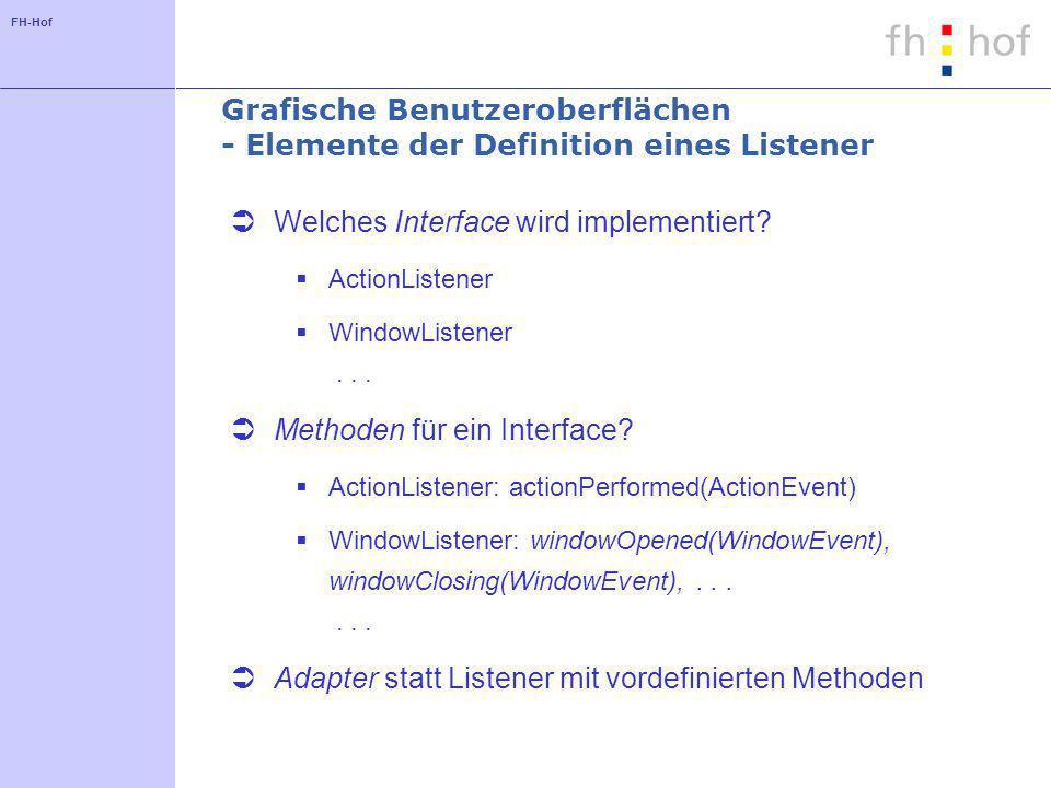 FH-Hof Grafische Benutzeroberflächen - Elemente der Definition eines Listener Welches Interface wird implementiert.